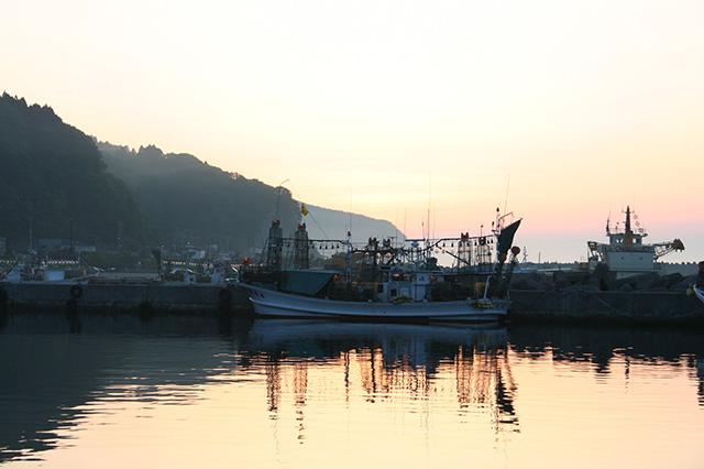 下風呂漁港の夕焼け